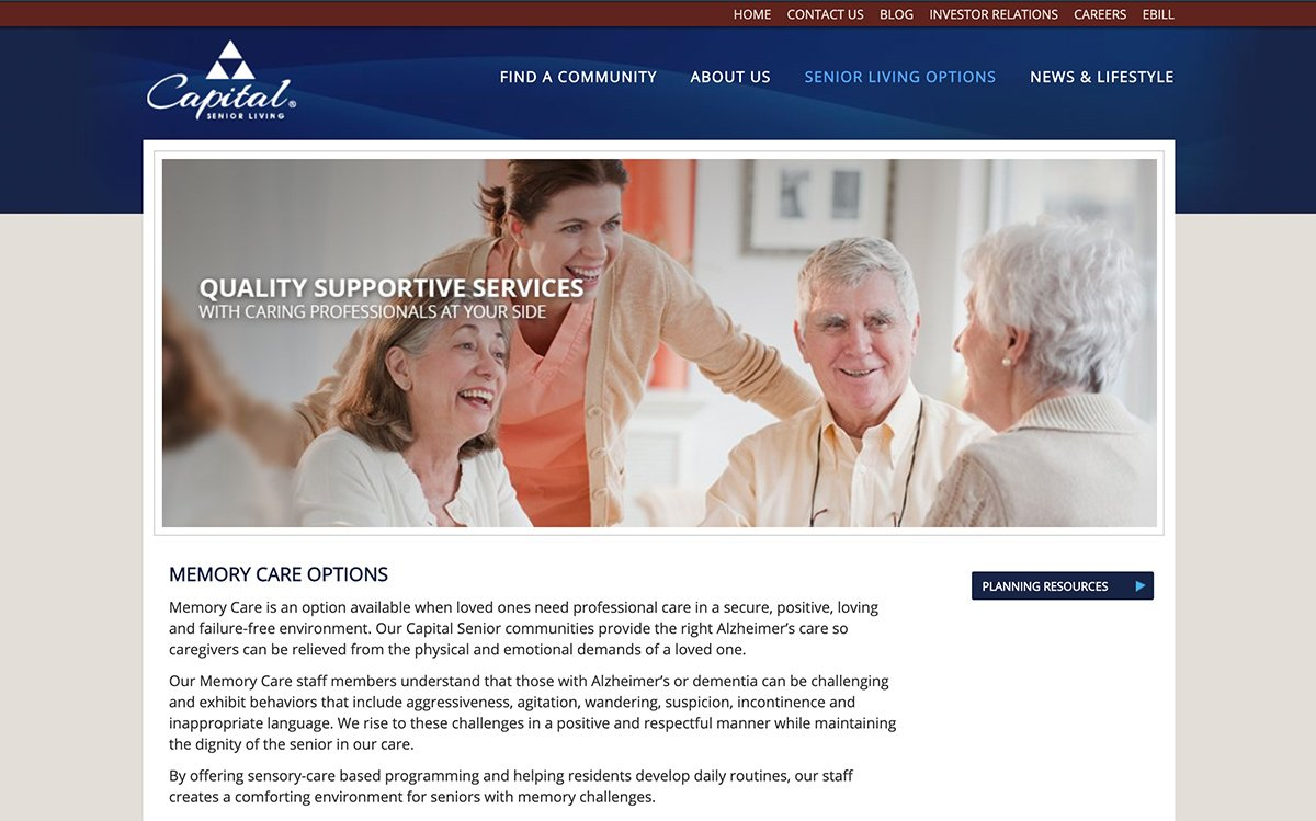Memory Care Page